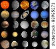 All of the planets that make up the solar system with the sun and prominent moons included. - stock photo