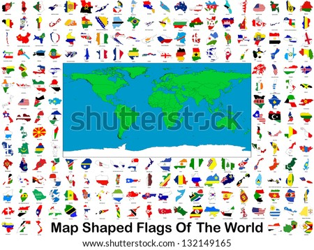 All of the worlds flags in the shape of their respective countries or states together on one poster image. - stock photo