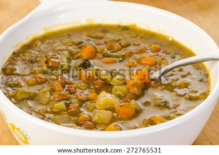 All Organic ingredients in Lentil and Vegetable Soup. - stock photo