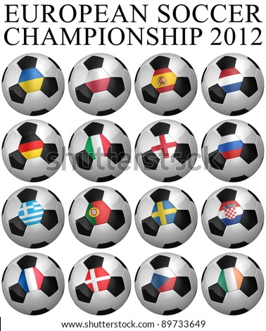 All participating teams of the European Soccer Championship of 2012 - clipping paths for each soccer ball included - stock photo