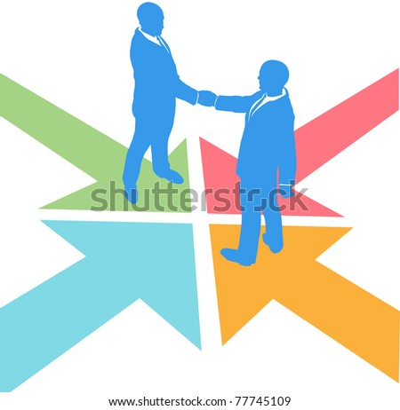 All paths lead to the deal as business people meet to agree - stock photo