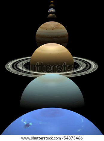 All 8 planets shown in alignment on a black background - stock photo
