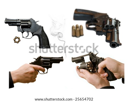 All projections of a revolver is large size. Connected to a white one for the benefit of the buyer. - stock photo
