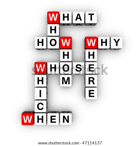 all question words crossword - stock photo