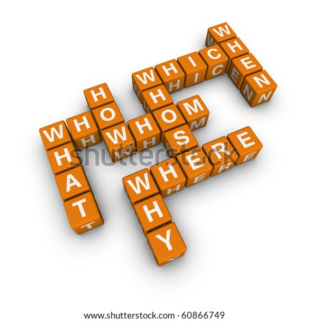 all question words  (cubes crossword series) - stock photo