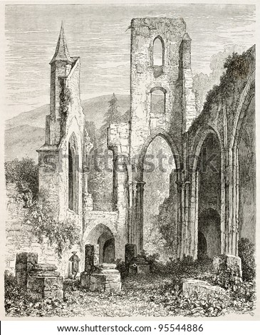 All Saints Abbey ruins (Kloster Allerheiligen), Black Forest, Germany. Created by Stroobant, published on Le Tour Du Monde, Paris, 1867