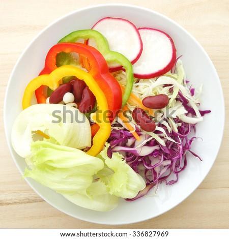 all salad green food top shoot  - stock photo