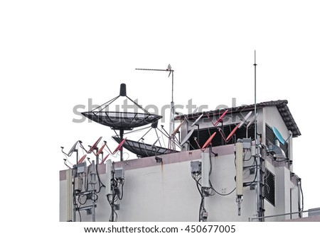 All satellite dish, TV antenna and Mobile phone network antenna for communication broadcast on the roof/ White Background  - stock photo