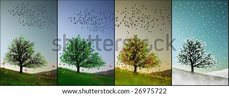 all seasons illustration - stock photo