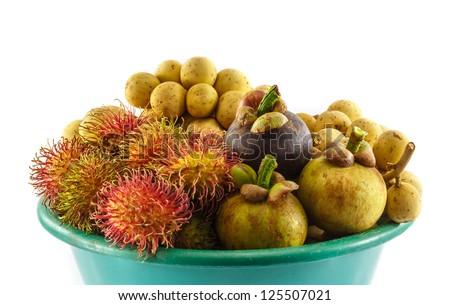 All seasons Thai fruit mangosteen,rambutan and longkong - stock photo