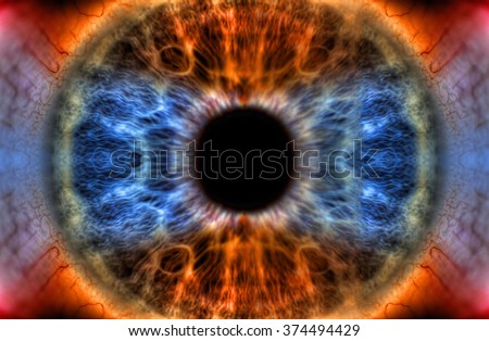 All Seeing Eye - Abstract extreme close up shot. Beautiful eye colored by a rainbow of colors. - stock photo