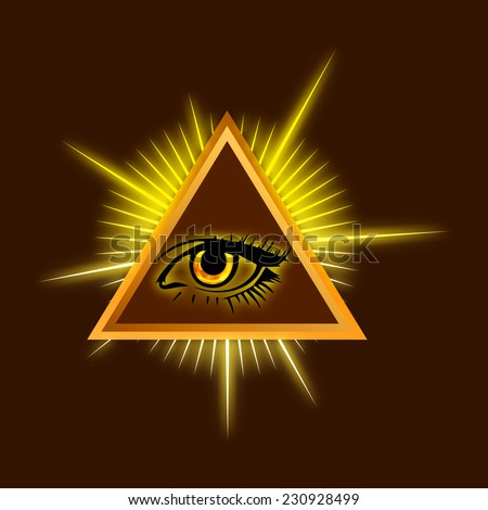 All-seeing eye - Color Stock Illustration - stock photo