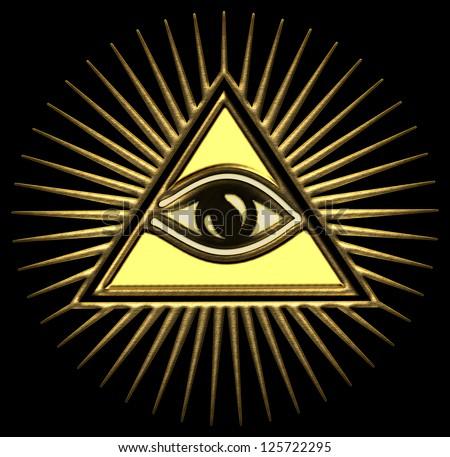 All seeing eye of god - gold - pyramid, Horus, freemasons / EYE OF PROVIDENCE / Symbol of Omniscience & Supreme Being - stock photo