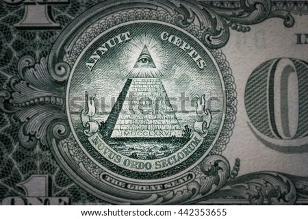 all-seeing eye on the one dollar. New world order. elite characters. 1 dollar. - stock photo