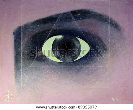 All-Seeing Eye painted on canvas with oil paints. - stock photo