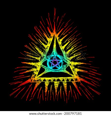 All Seeing Eye, Pentagram - stock photo