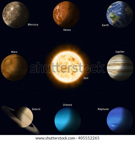 all solar system planets with names and sun in the center - stock photo