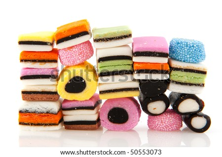 All sort licorice candy in many colors