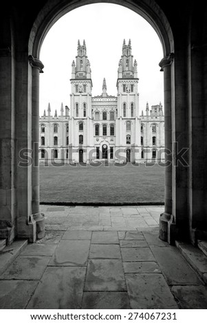 All Souls College 1438 in black and white, Oxford