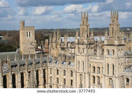 All souls college viewed from St mary the virgin church Oxford - stock photo