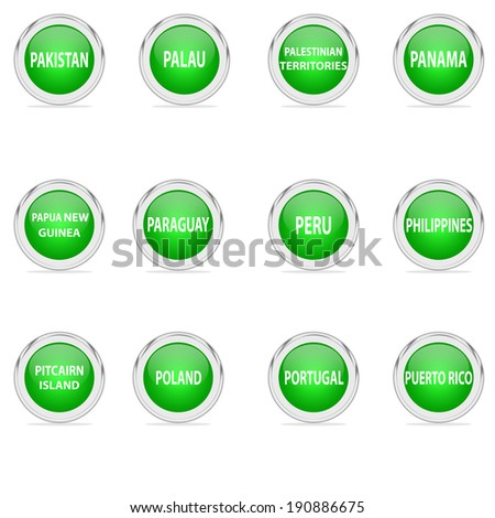 All states in the letter P Set Green - stock photo