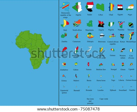 All states of Africa with their flags and the size of territories - stock photo