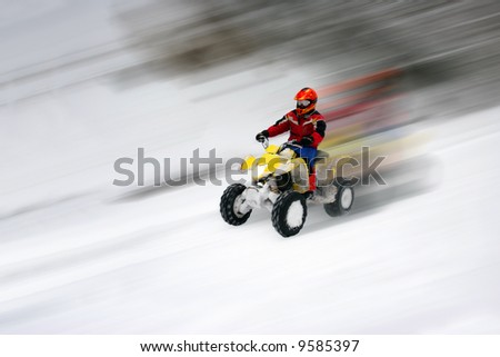 All Terrain Vehicle in motion - stock photo
