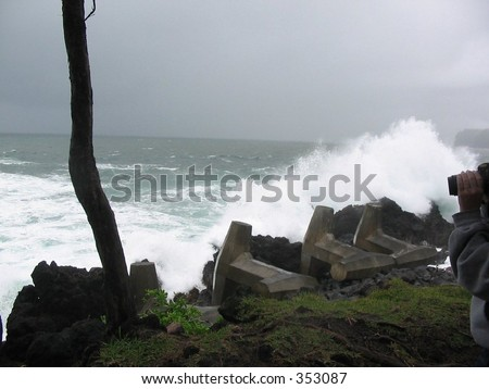 All that is left of this once thriving dock is the cement supports after a tsunami hit. - stock photo