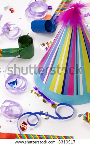 All the fixings for a great birthday bash. - stock photo