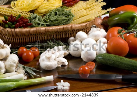 All the fresh ingredients for making great pasta - stock photo