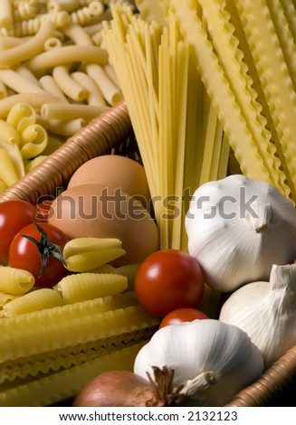 All the ingredients for a great pasta.... Italian style - stock photo