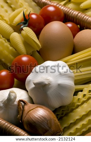 All the ingredients for a great pasta... Italian style - stock photo
