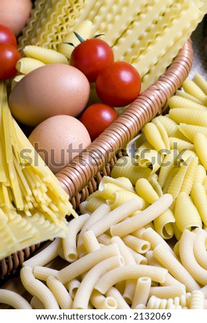 All the ingredients of a good pasta - stock photo