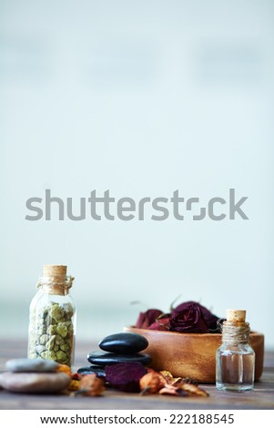 All the necessary things for aromatherapy - stock photo