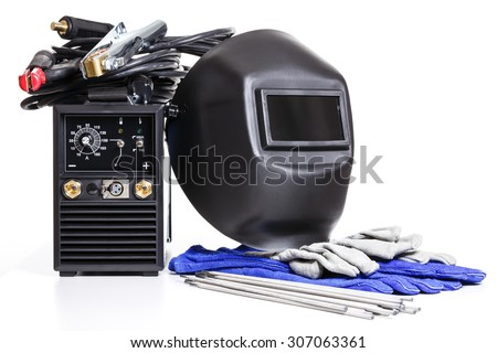 All the necessary tools for electro-gas welding - stock photo