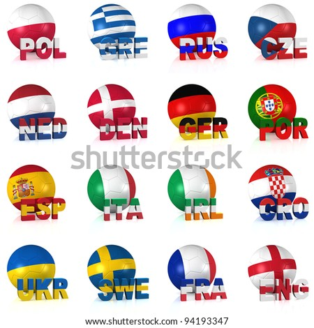 All the participating teams of Europe's biggest soccer competition. Easy to edit and use. - stock photo
