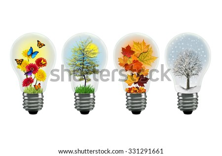 All the seasons shown in a separate lightbulb - stock photo