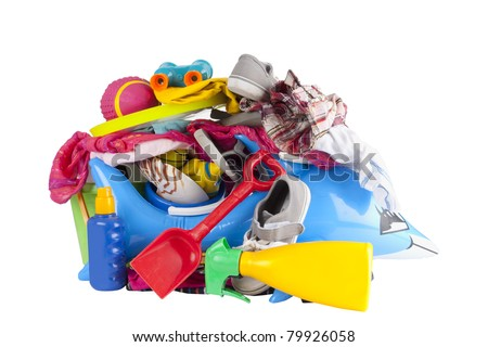 All the things you need to pack for a summer holiday or vacation - stock photo