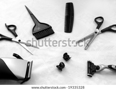 All tools necessary for the hairdresser - stock photo