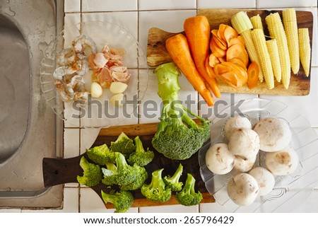 All vegetables ready for cooking - stock photo