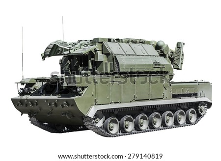 all-weather tactical air defense missile system isolated on a white background. Russian military equipment. - stock photo