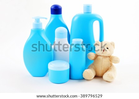 all you need for baby bath -  baby accessories - children - stock photo