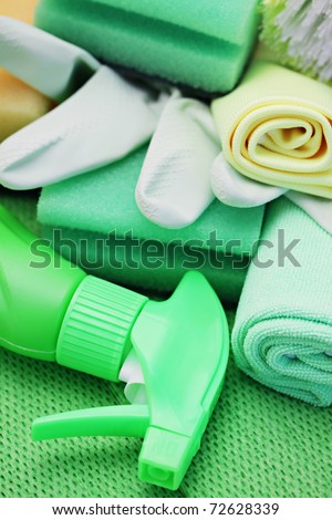 all you need to clean house - close-ups of cleaning supplies - stock photo