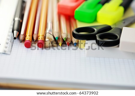 all you need to go to school - school time - stock photo