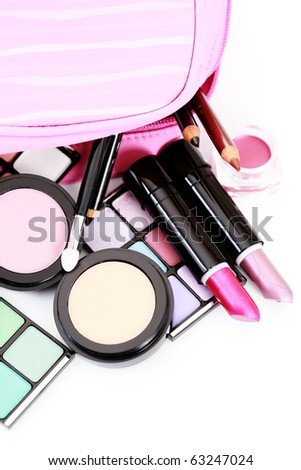 all you need to have lovely make-up on white - beauty treatment - stock photo