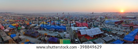 ALLAHABAD, INDIA - FEBRUARY 06 2013: Aerial panorama view of Maha Kumbh Mela festival camp, the world's largest religious gathering.  - stock photo
