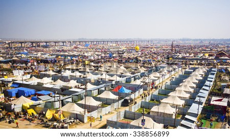 Allahabad, India - February 8, 2013: General view of Kumbh Mela festival, the world's largest religious gathering, in Allahabad, Uttar Pradesh, India. - stock photo