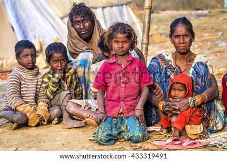 Allahabad, India - February 10: Poor Indian family in rural area near Allahabad, Uttar Pradesh, India.