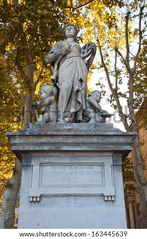 Allegorical statue of Industries and Decorative arts (circa 1883). Sculptor Francois Trupheme. Aix-en-Provence, France - stock photo