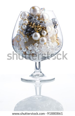 Allegory of raptures with treasure  - glass full of jewelry